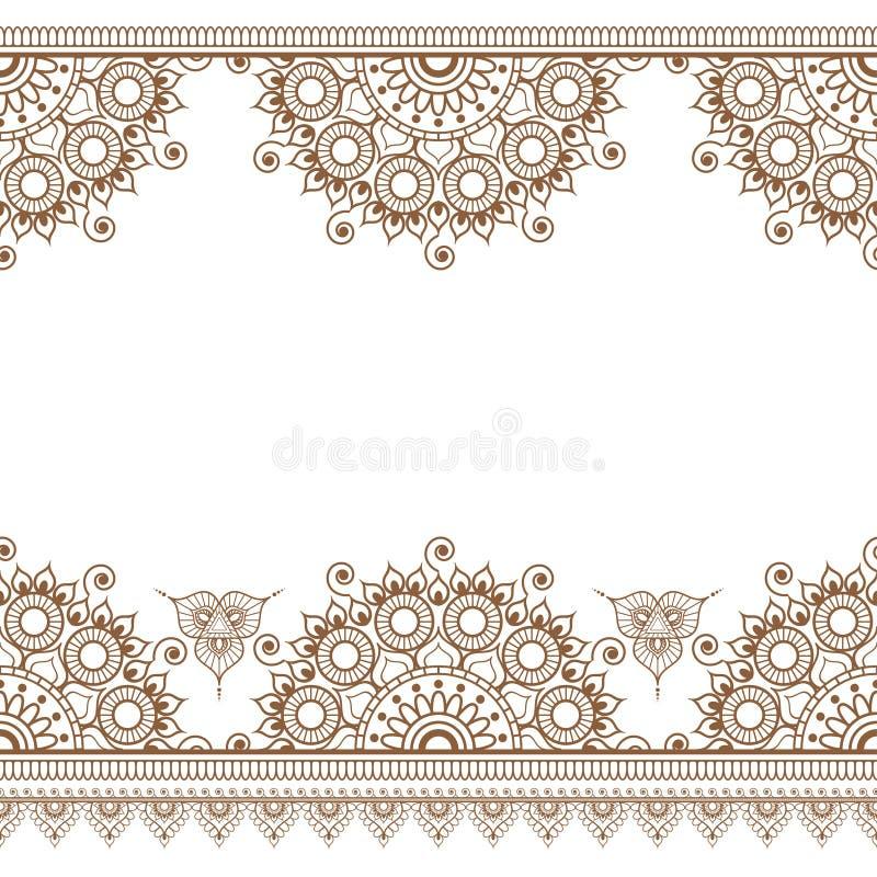 Безшовные коричневые границы mehndi картины хны в индийском стиле с флористическими элементами для татуировки или карты иллюстрация вектора