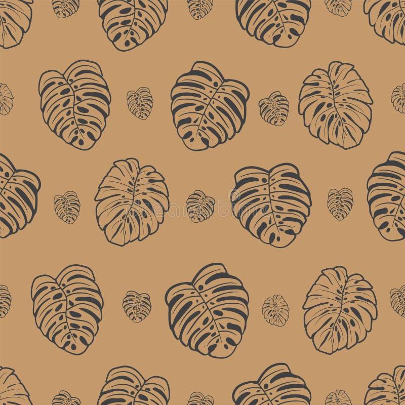 Безшовные коричневые лист deliciousa monstera стоковая фотография