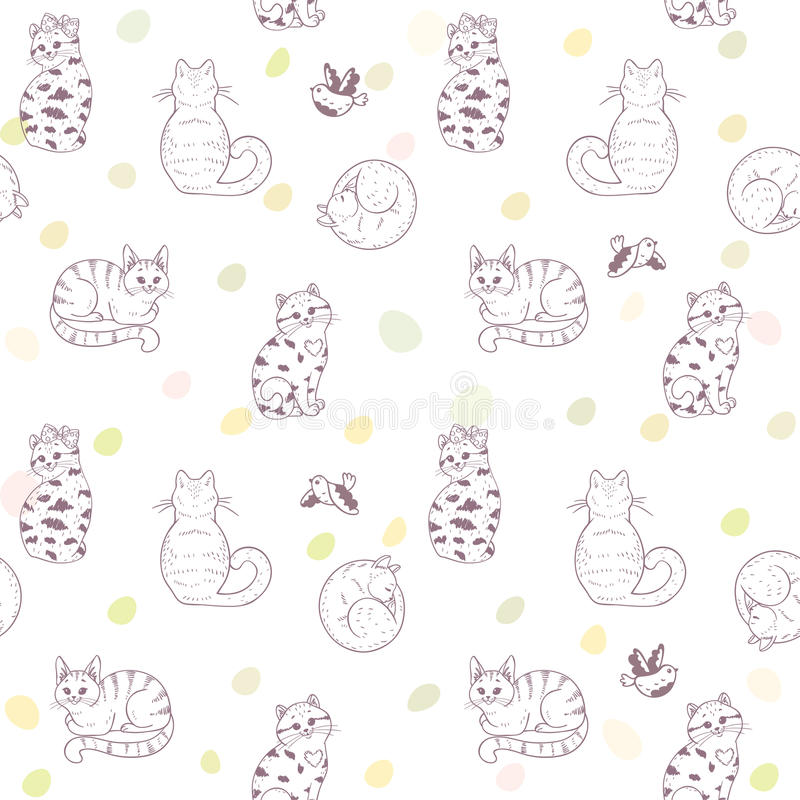 Безшовные коты картины иллюстрация штока