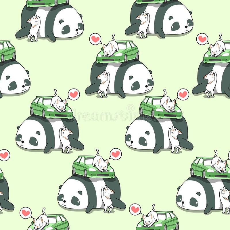 Безшовные коты kawaii с автомобилем на картине гигантской панды иллюстрация вектора
