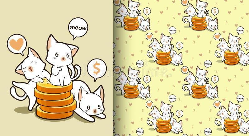 Безшовные коты kawaii с золотой картиной монеток иллюстрация вектора