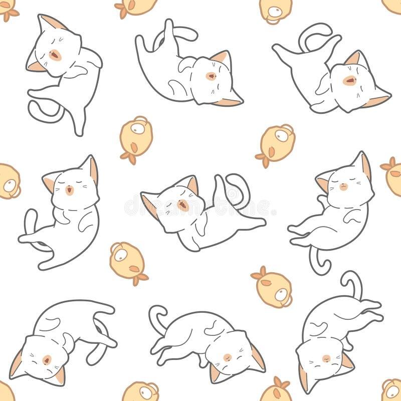 Безшовные кот и рыбы картины иллюстрация вектора