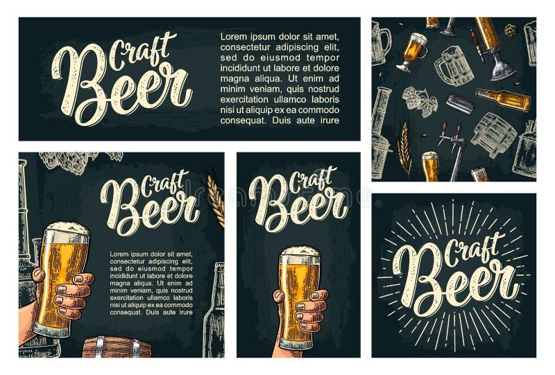 Безшовные кран, класс, чонсервная банка, бутылка и хмель пива картины иллюстрация штока