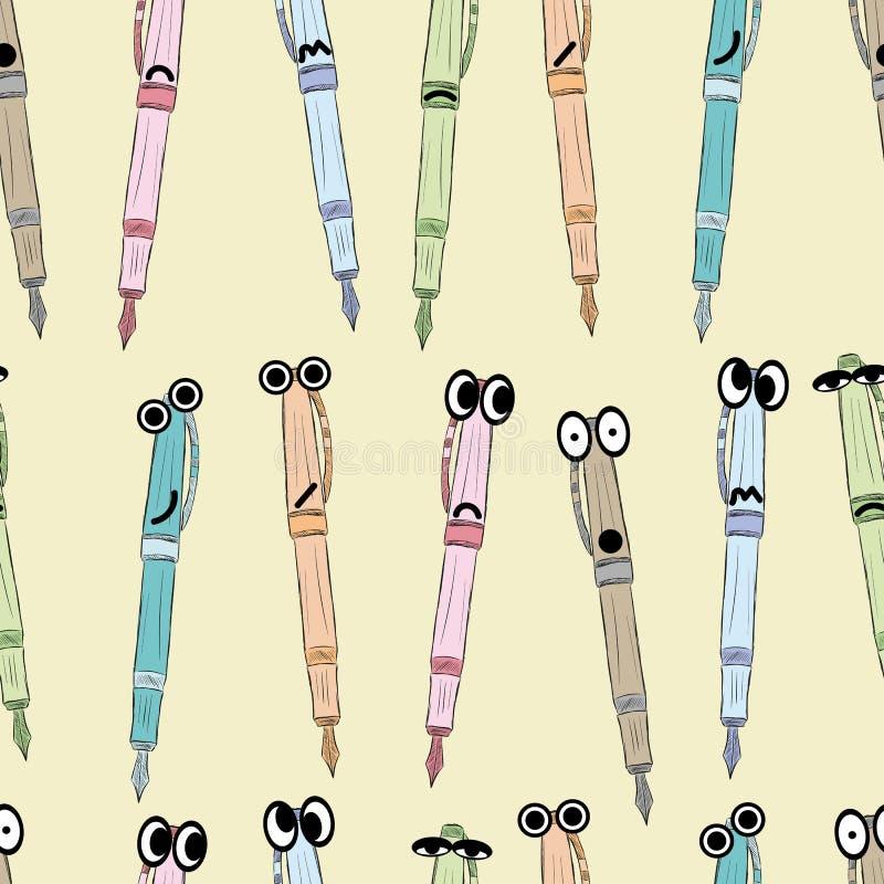 Безшовные крупно-наблюданные эмоциональные ручки иллюстрация вектора