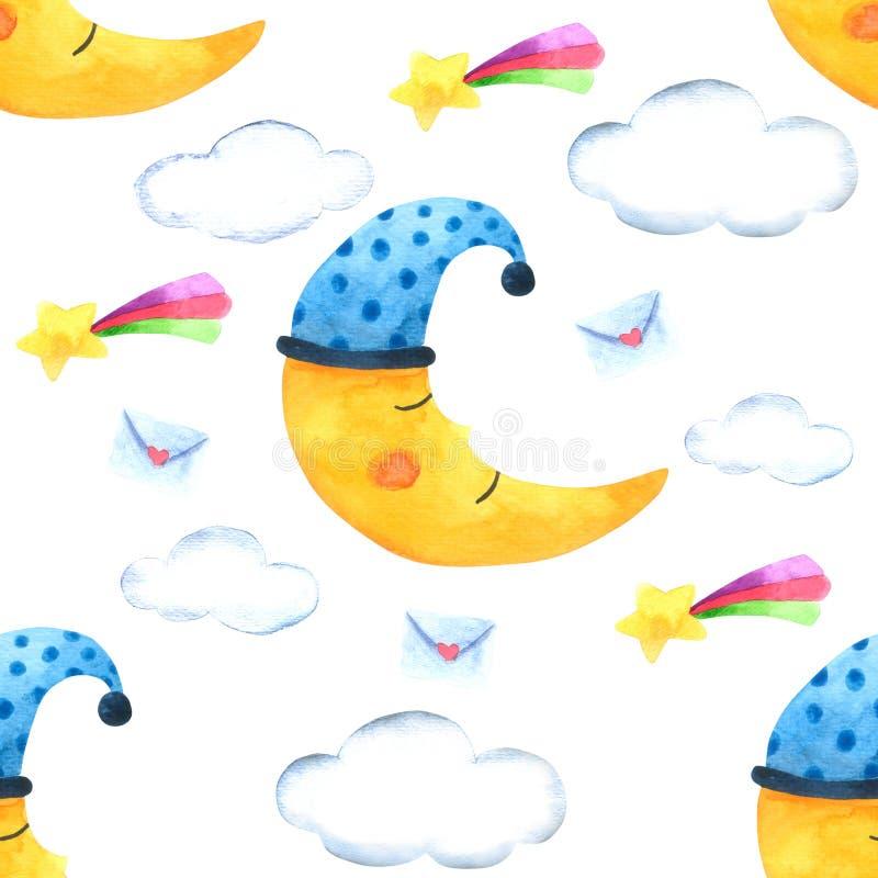 Безшовные луна картины и облако для упаковки, ткань печати Изображение акварели нарисованное рукой совершенное в случаи конструир иллюстрация штока