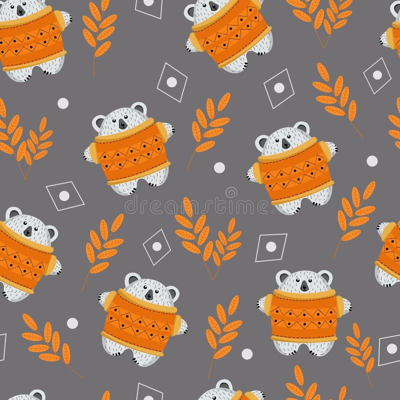 Безшовные медведь картины и сбор осени установили грибов, яблок, ягод, меда, листьев для дизайна обоев, оболочек, иллюстрация штока