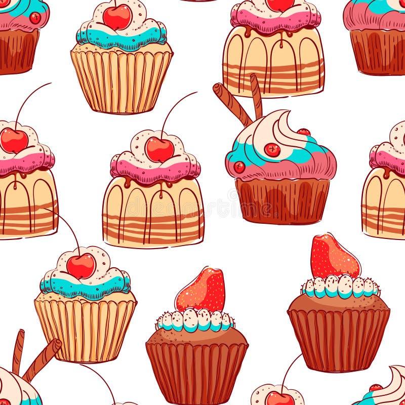 Безшовные милые пирожные бесплатная иллюстрация