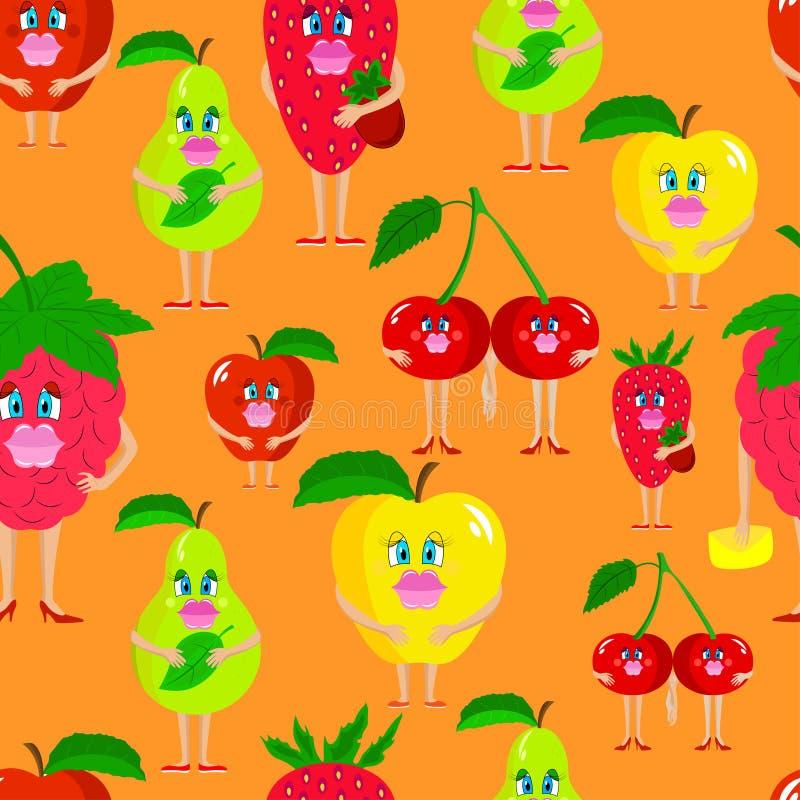 Безшовные милые плодоовощи дамы иллюстрация штока