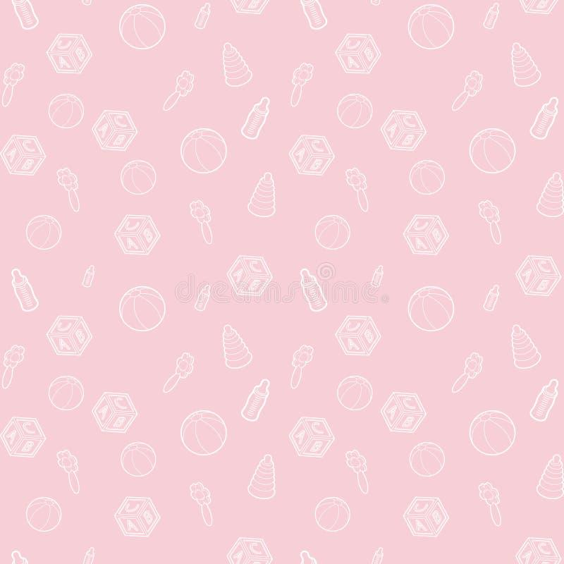 Безшовные младенец вектора и картина беременности с розовой линией значками искусства Предпосылка для платья, производство, обои, бесплатная иллюстрация