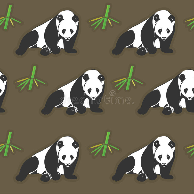 Безшовные обои панды и бамбука бесплатная иллюстрация