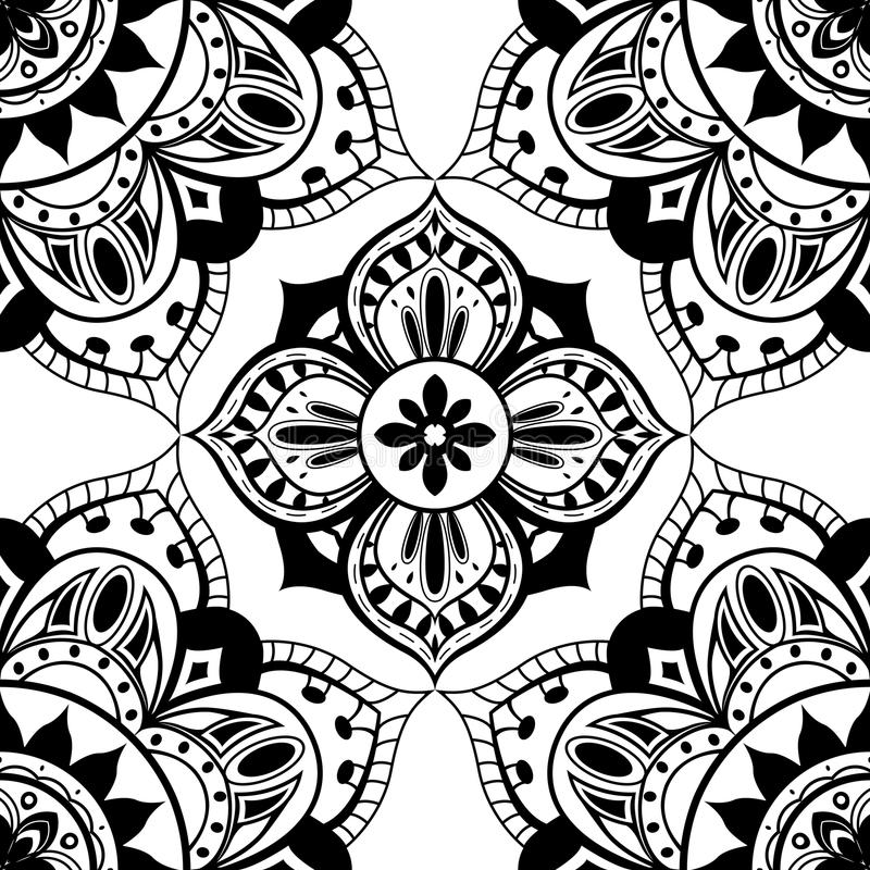 Безшовные обои с восточной симметричной картиной иллюстрация штока