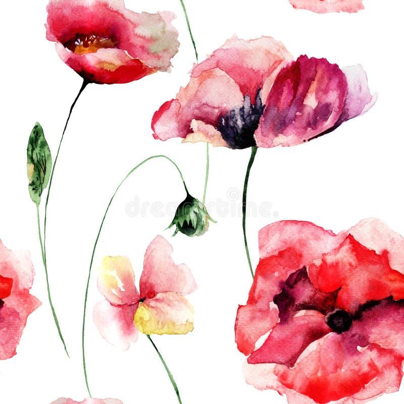 Безшовные обои с цветками маков иллюстрация вектора