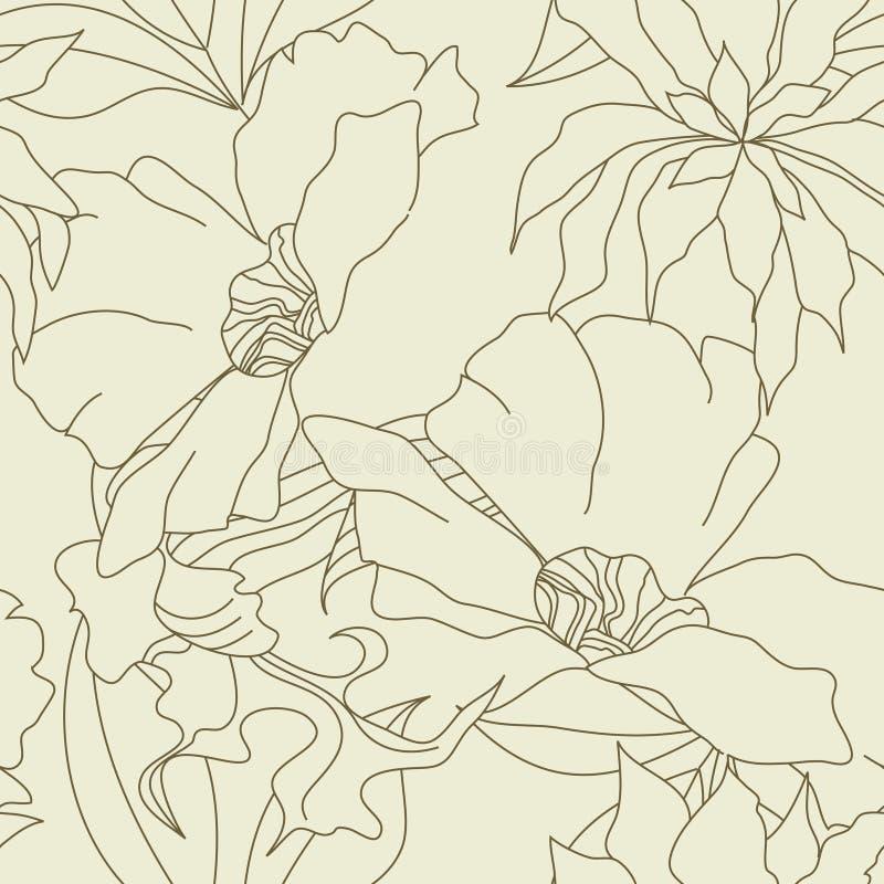 Безшовные обои с цветками бесплатная иллюстрация