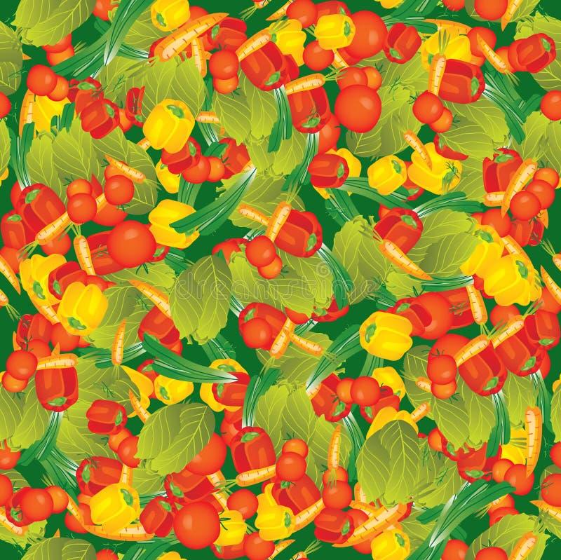 Безшовные овощи вектора на зеленой картине бесплатная иллюстрация
