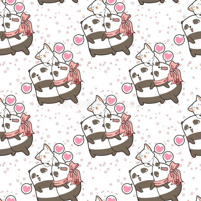Безшовные панды и кот kawaii говорят любят вас картина иллюстрация штока