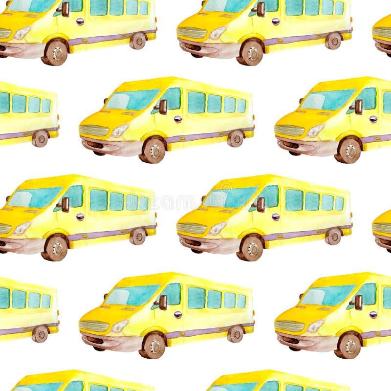 Безшовные переход картины и логистический автобуса или такси акварели желтых мини иллюстрация штока