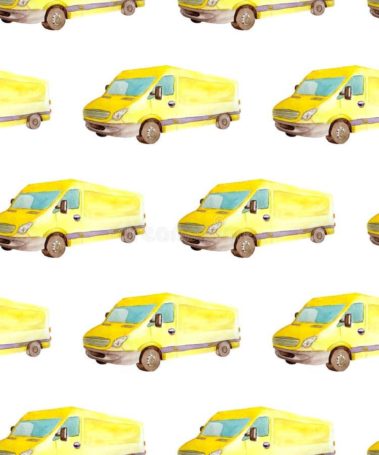Безшовные переход картины и логистический акварели желтого фургона тележки с серыми колесами изолированными на белой предпосылке иллюстрация вектора