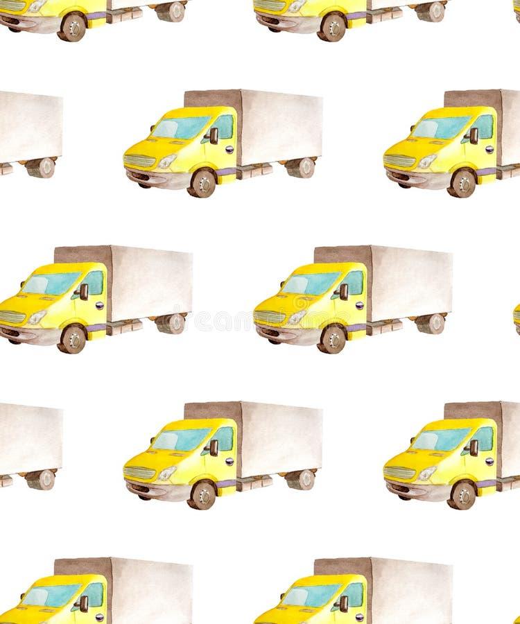 Безшовные переход картины и логистический тележки акварели средней с коричневым телом и желтой кабиной бесплатная иллюстрация