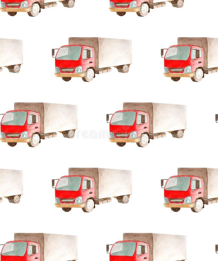 Безшовные переход картины и логистический тележки грузовика с красной кабиной и серым bodywork иллюстрация вектора