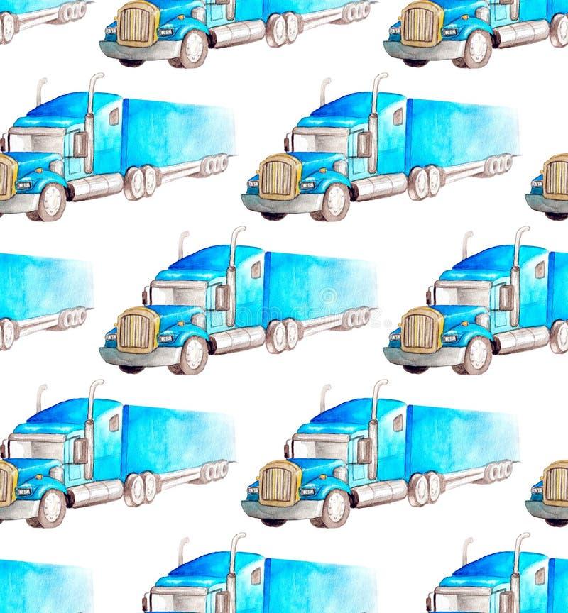 Безшовные переход картины и логистический truc полуприцепа акварели голубого иллюстрация вектора