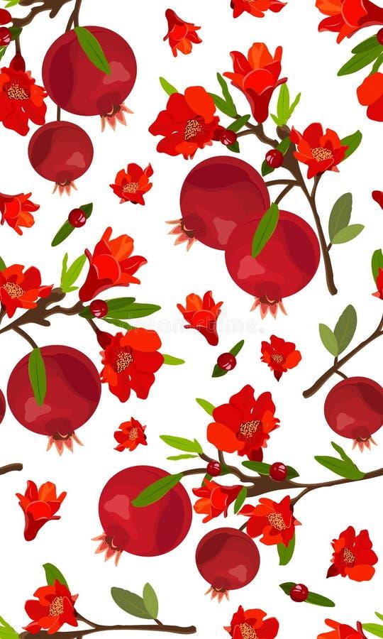 Безшовные плоды гранатового дерева картины с цветком на белой предпосылке, свежих натуральных продуктах, красной рубиновой картин иллюстрация штока