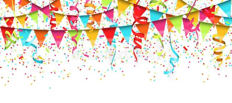 безшовные покрашенные confetti, ленты и предпосылка гирлянд иллюстрация вектора