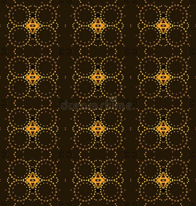 Безшовные регулярн диамант и круги делают по образцу коричневый желтый апельсин иллюстрация вектора