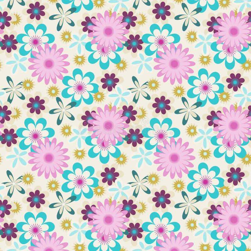 Безшовные розовые голубые цветки на белой предпосылке иллюстрация вектора