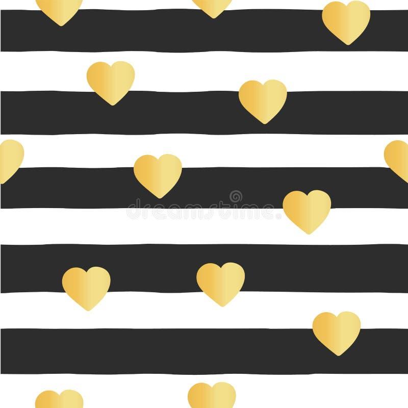 Безшовные сердца сусального золота нашивок картины вектора иллюстрация штока