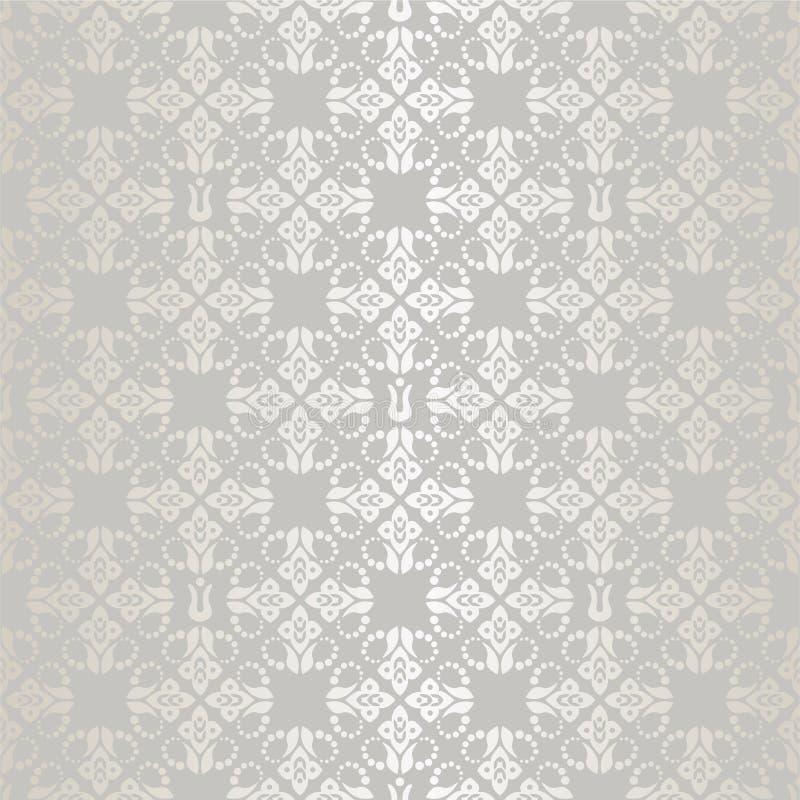 Безшовные серебряные малые флористические обои элементов иллюстрация вектора