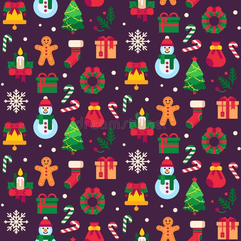 Безшовные символы рождества Xmas зеленеет дерево, игрушки подарка или помадки праздников и традиционный вектор картины человека п иллюстрация вектора