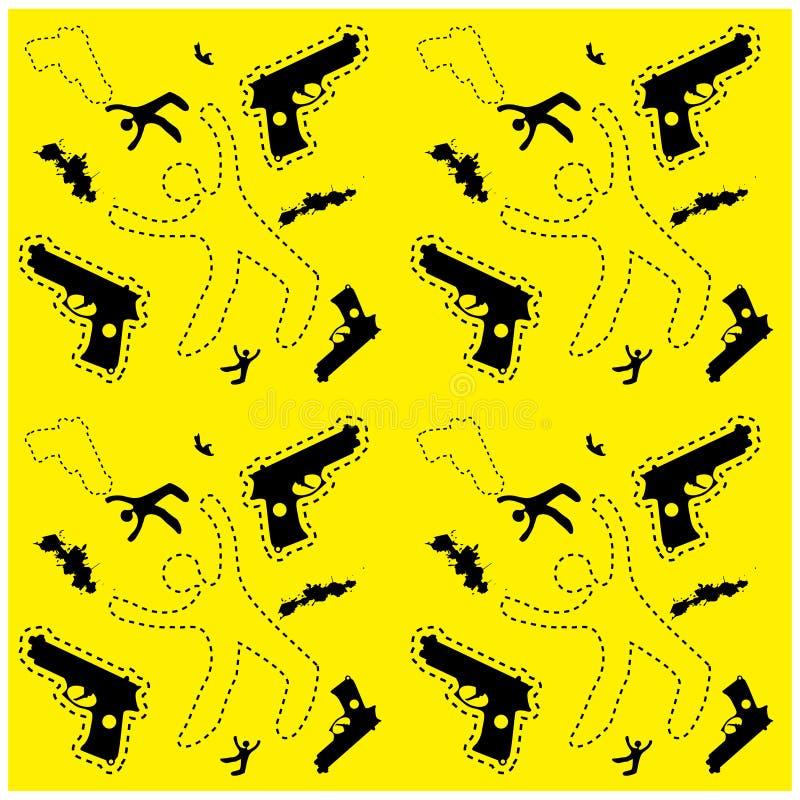 Безшовные силуэт человека и предпосылка злодеяния оружия делают по образцу вебсайт иллюстрация вектора
