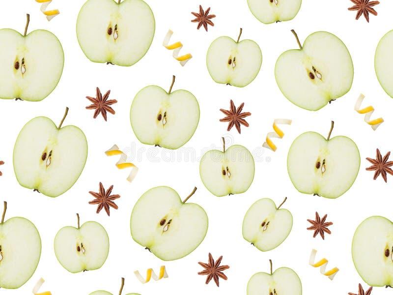 Безшовные скольжения картины Яблока, анисовки звезды и корки лимона на белой изолированной предпосылке стоковое изображение
