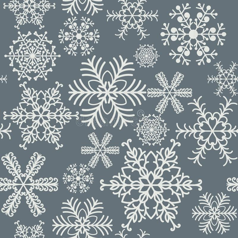 Безшовные снежинки делают по образцу серый и белый дизайн предпосылки иллюстрация вектора