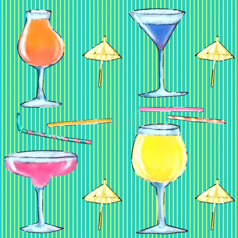 Безшовные стекла картины с коктейлем иллюстрация вектора