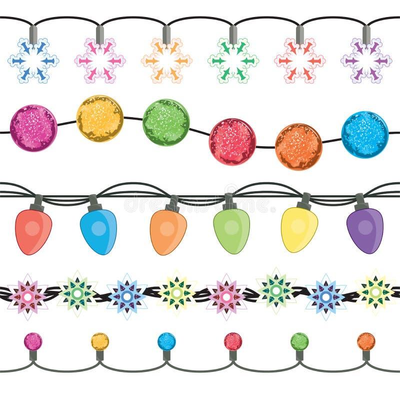 Безшовные строки ламп гирлянды света рождества бесплатная иллюстрация