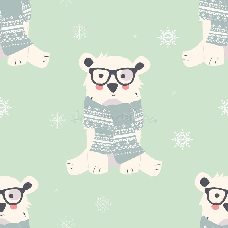 Безшовные с Рождеством Христовым картины с милыми животными полярного медведя бесплатная иллюстрация