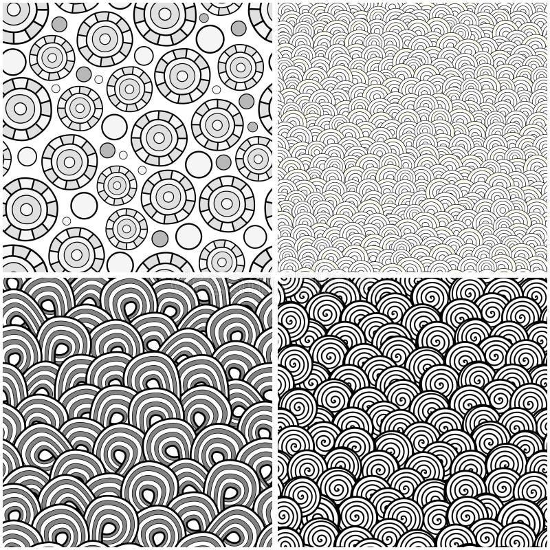 безшовные текстуры комплекта иллюстрация вектора