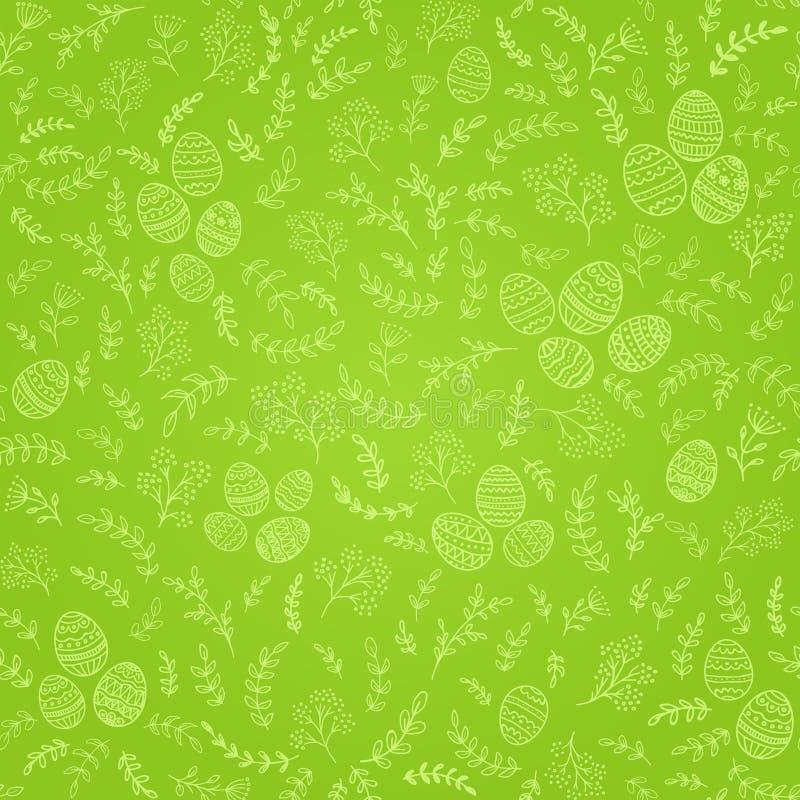 Безшовные украшения пасхи с яичками на зеленой предпосылке иллюстрация штока