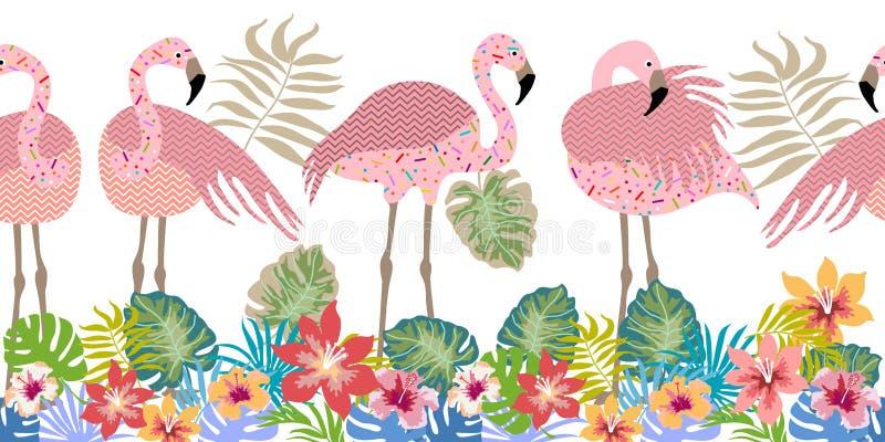 Безшовные фламинго бузины границы вектора, цветки и листья ладони иллюстрация штока