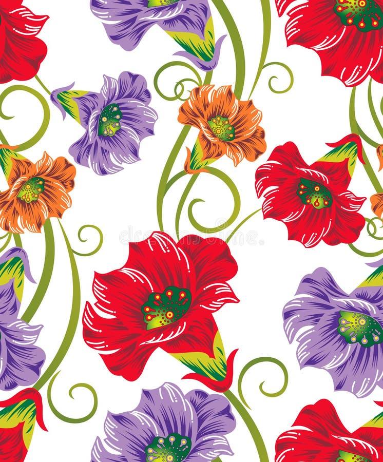 Безшовные цветки вектора для конструкций тканья бесплатная иллюстрация