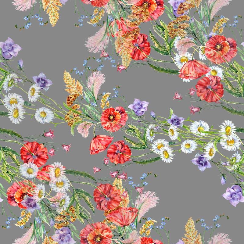 Безшовные цветки луга акварели картины на серой предпосылке иллюстрация вектора