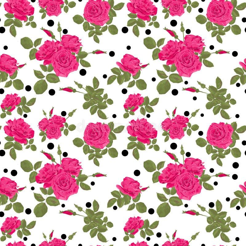 Безшовные цветки розовой картины роз с черными точками, кругами иллюстрация штока