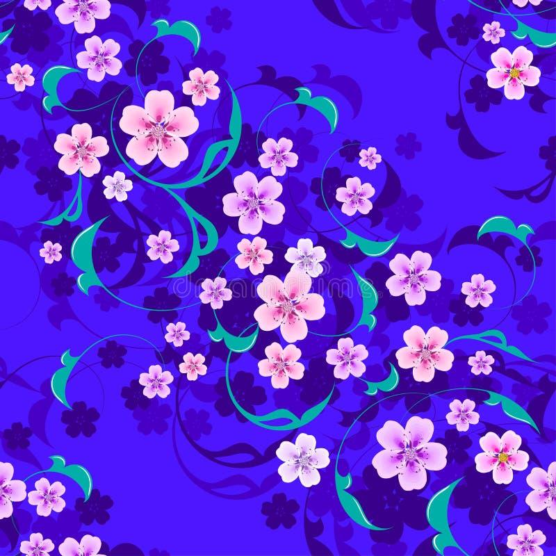 Безшовные цветки с листьями на предпосылке стоковое фото