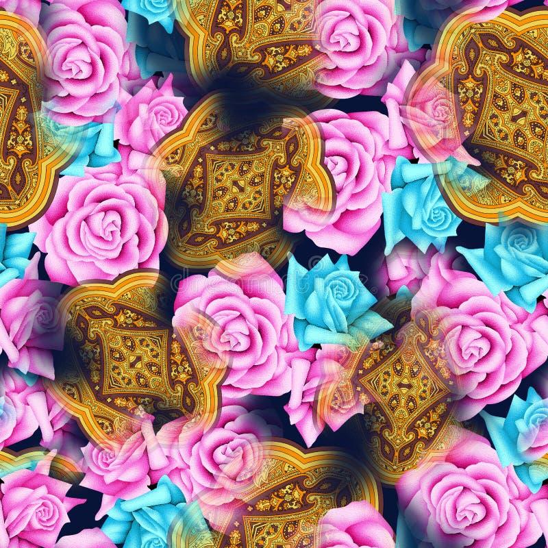 Безшовные цветок акварели и картина Пейсли стоковые фотографии rf