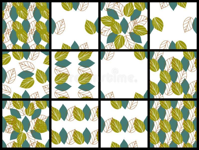 Безшовные цветочные узоры с листьями бесплатная иллюстрация