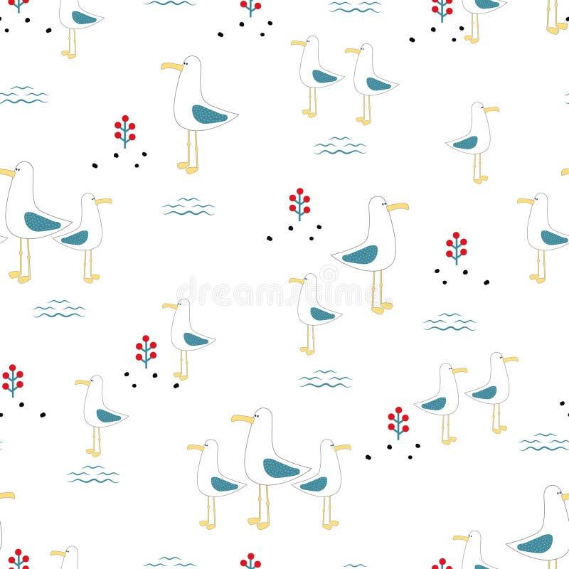 Безшовные чайки картины иллюстрация штока