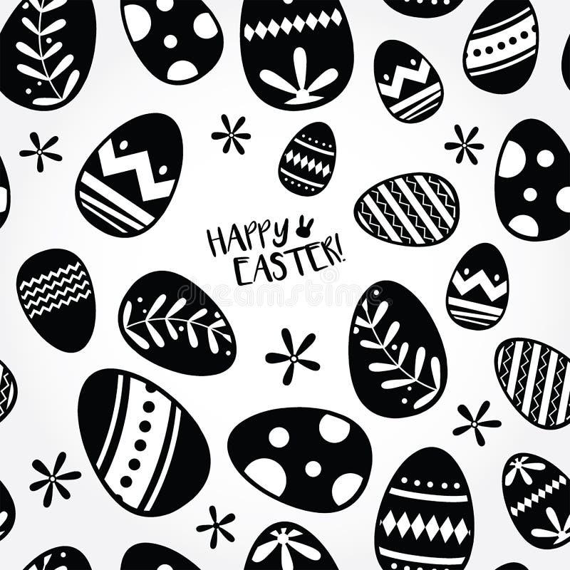 Безшовные черно-белые пасхальные яйца иллюстрация штока
