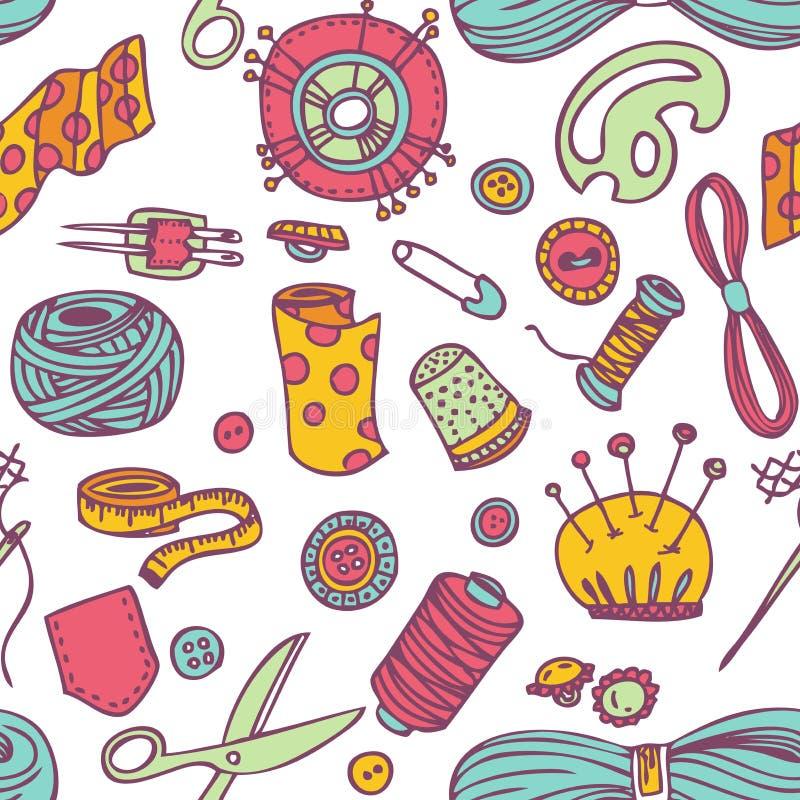 Безшовные шить doodle вектора и картина needlework иллюстрация штока