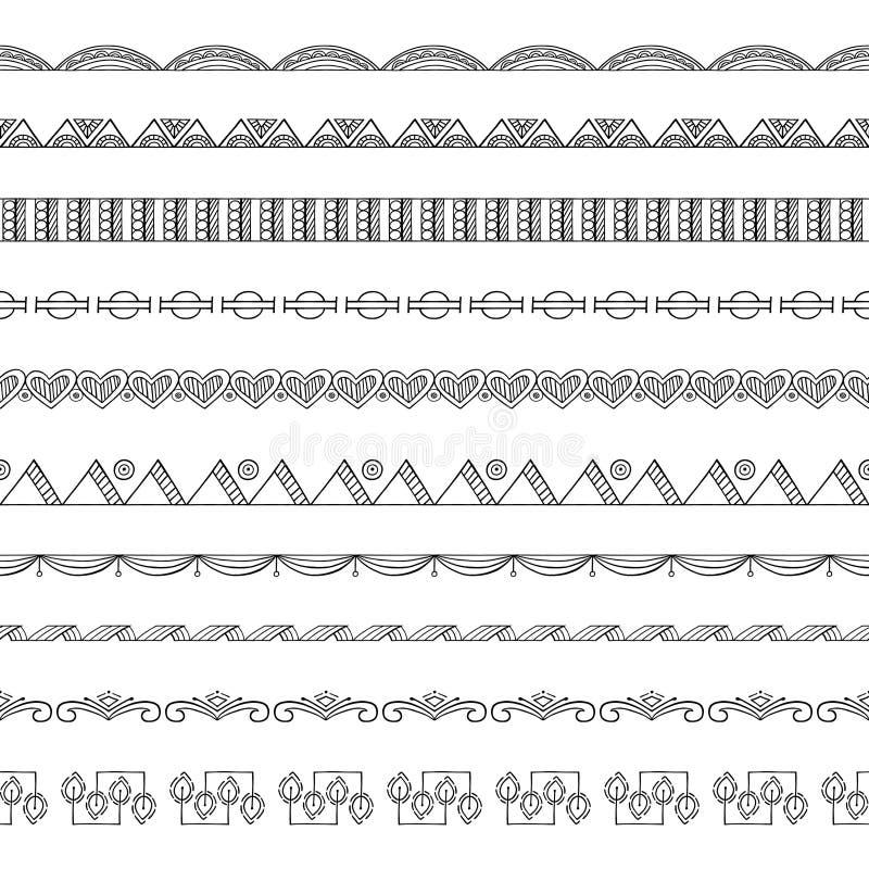 Безшовные элементы границы и рамки Doodle иллюстрация вектора